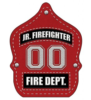 "Stock ""Jr. Firefighter Red Leather"" Fire Hat"