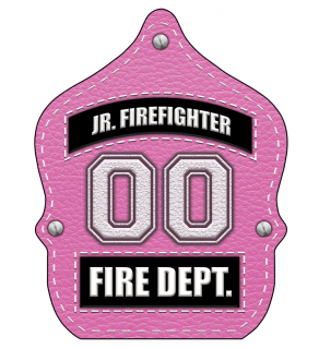 """Stock Pink """"Jr. Firefighter Leather"""" Fire Hat"""