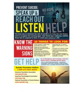 Prevent Suicide: Speak Up & Reach Out Laminated Poster