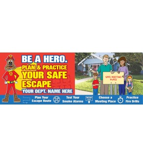 """Red's """"Be A Hero. Plan & Practice Your Escape"""" Banner"""