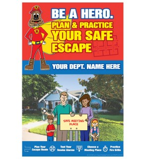 """Red's """"Be A Hero. Plan & Practice Your Safe Escape"""" Poster"""
