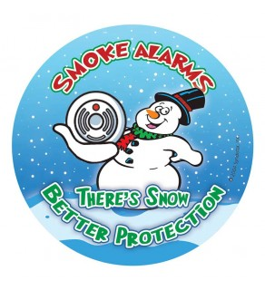 """Smoke Alarms, There's Snow Better Protection"" Holiday Sticker"