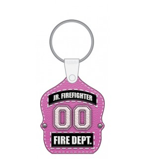 Jr. Firefighter Fire Dept. Shield in PINK Keytag