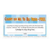 """Count On Me To Be Drug-Free"" Pledge Card"