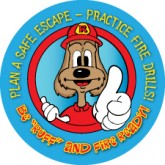 "Red's ""Be Ruff and Fire Ready!"" Sticker"
