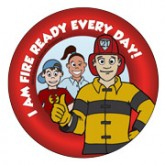 """Fire Ready Every Day with Firefighter Ace"" Sticker"
